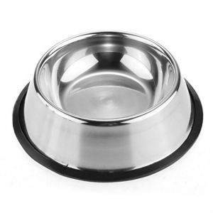 Non Tip Anti Skid Stainless Steel Dog Bowls with Removable Rubber Ring