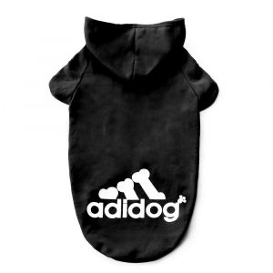 Adidog Dog Hoodie Pet Clothing - Black