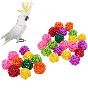 Interactive Bite/Chew Rattan Balls Bird Toys Colourful Climb Chew Toy With Hanging Swing Bell Bird Toys for Parrots, African Greys, Budgies, Cockatiels, Parakeets, Lovebirds