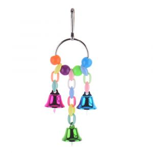 Chewing Hanging Rack Bird Toys With Bells and Ball, Heart and Star Shape Beads for Parrots, African Greys, Budgies, Cockatiels, Parakeets, Lovebirds