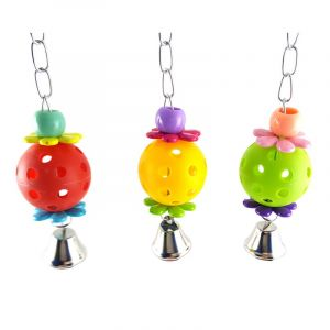 Colourful Climb Chew Toy With Hanging Swing Bell Bird Toys for Parrots, African Greys, Budgies, Cockatiels, Parakeets, Lovebirds