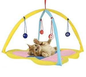 Portable/Foldable Sleeping Bed for Kittens and Cats with Interactive Hanging Toys for Play