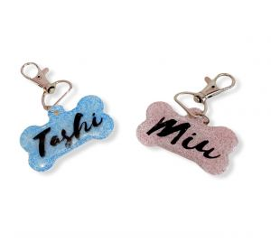 Solid Colour with Glitter Personalized/Customized Name Tags for Dogs and Cats with Name and Contact Details
