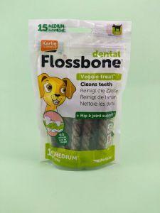 Dental Flossbone Veggie Treat, 15 Counts - Medium