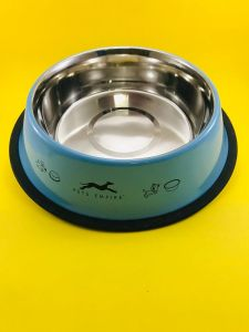 Pets Empire Coloured Non Tip Anti Skid Stainless Steel Dog Bowls with Removable Rubber Ring
