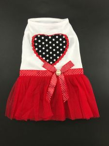 Cotton Frock for Dogs and Cats - Peach Heart Tutu Dress (Pet Clothing)