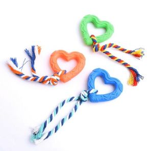 Natural Rubber Chew, Tug Rope Toys for Dogs, Cats and Small Animal - Heart Shaped