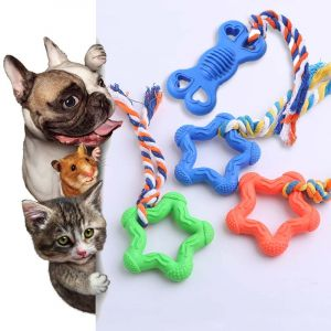 Natural Rubber Chew, Tug Rope Toys for Dogs, Cats and Small Animal - Star Shaped
