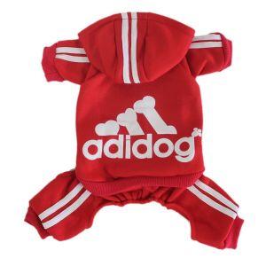 Adidog Four-Legged Dog Hoodie Sweatshirt, Red, M