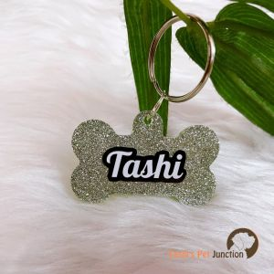 Glittery Sparkly Personalized/Customized Name Tags for Dogs and Cats with Name and Contact Details