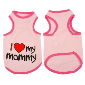 Cotton T-Shirt for Large Dogs - I Love Mommy (Pet Clothing), Pink