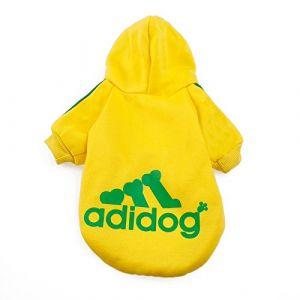 Adidog Dog Hoodie, Yellow, M