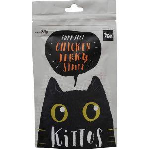 Kittos Cat Treat, Chicken Jerky Strips - 35 gm