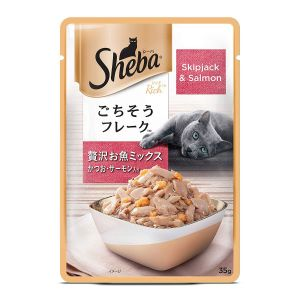Sheba Premium Wet Cat Food, Skipjack & Salmon - 35 gm