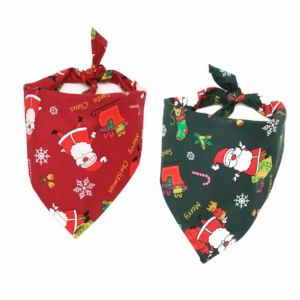 Santa Pattern Christmas Bandana Scarf Collar for Dogs and Cats