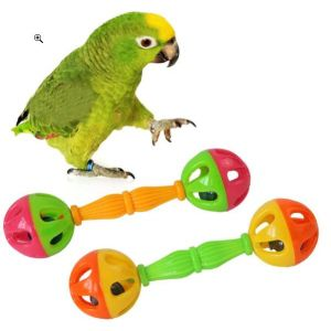 Fun and Exercise Plastic Double-headed Bell Dumble Rattle Bird Toys for Parrots, African Greys, Budgies, Cockatiels, Parakeets, Lovebirds