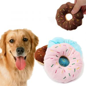 Plush Squeaky Chew Interactive Pet Toys For Your Pups, Dogs, Kittens and Cats - Donut