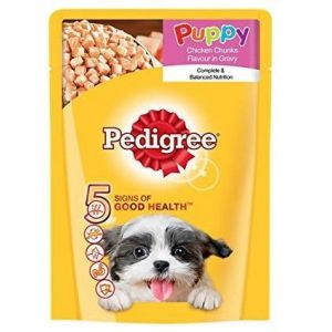 Pedigree Chicken Chunks in Gravy, Puppy Wet Dog Food - 80 gm