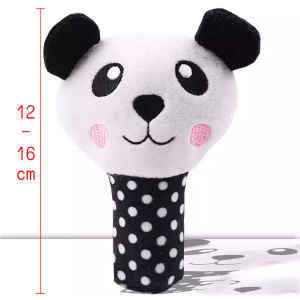 Plush Squeaky Chew Interactive Pet Toys For Your Pups, Dogs, Kittens and Cats - Black Panda
