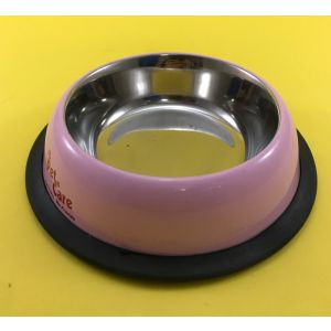 Pet en Care Coloured Non Tip Anti Skid Stainless Steel Dog Bowls with Removable Rubber Ring, XS