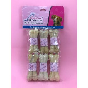 Canine Rawhide Pressed Chew Dog Bone - 3 inch, 6 Piece