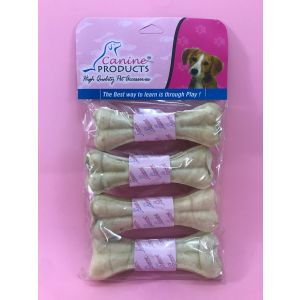 Canine Rawhide Pressed Chew Dog Bone - 5 inch, 4 Piece