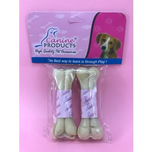 Canine Rawhide Pressed Chew Dog Bone - 4 inch, 2 Piece