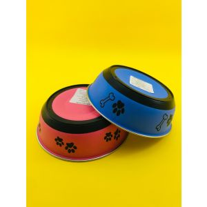 Plastic Coloured Steel Feeding Bowl for Dogs and Cats - Small