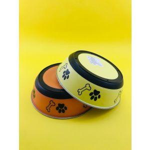 Plastic Coloured Steel Feeding Bowl for Dogs - Medium