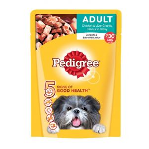 Pedigree Chicken and Liver Chunks, Adult Wet Dog Food - 80 gm