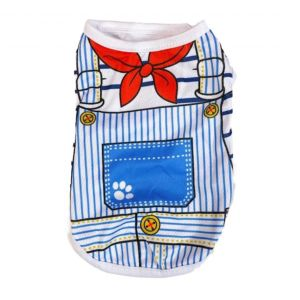 Cotton T-Shirt for Puppies, Dogs, Kittens, Cats and Rabbits - Sailor Print Vest (Pet Clothing)