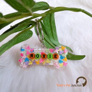 Transparent with Miniatures Personalized/Customized Name Tags for Dogs and Cats with Name and Contact Details
