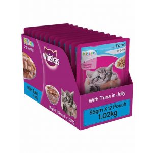 Whiskas Kitten (2-12 months) Wet Cat Food, Tuna in Jelly - 12 Pouches (12 x 85g)